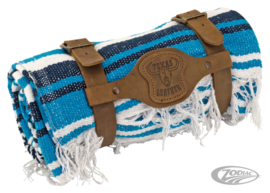 Mexican blanket -Blue White - with Brown leather holder