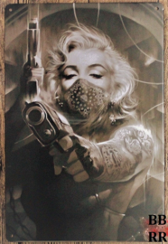 Metalen bord : Marilyn Monroe Bandana, Tattoos & Guns (300x205 mm)