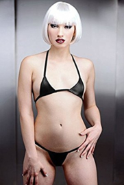 Black Leather Mini Bikini - Daring Leather (M/L)
