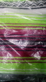 Mexican blanket - Red Black Lime - with Black leather holder