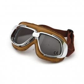 Bandit - Classic Goggles - Silver & brown leather - Smoke Lens