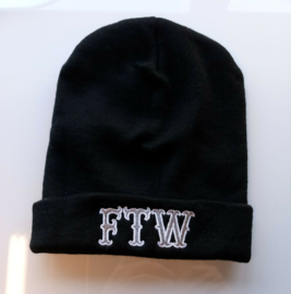Beanie - Fuck The World - FTW  (Silver & White)