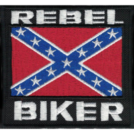 PATCH - Confederate flag - REBEL BIKER