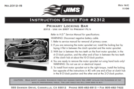 JIMS - Primary Locking Bar 2312 - Use on 2007 to Present FL's