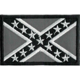 GREY PATCH - Confederate flag - Rebel flag in gray
