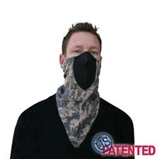 Face Mask - Half XXL - Neodanna, 100% Cotton Bandanna w/Neoprene, CAMOUFLAGE