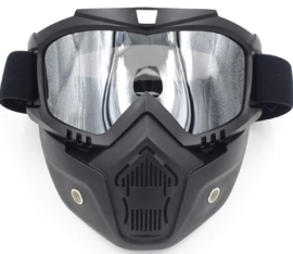 Shark-style - Full Face Mask with Goggles - CHROME