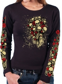 ROSE SKULL BOUQUET BLACK LONG SLEEVE T-SHIRT - small only