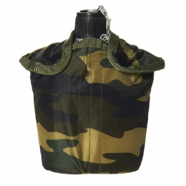 Canteen with camouflage cover, aluminium