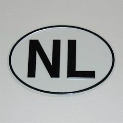NL - oval metal sign for classic bike or car - Nederland