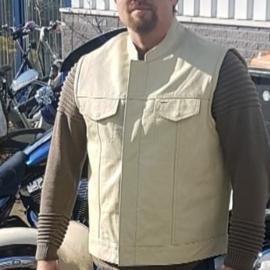 Leather MC-Vest - Cut Off - SOA - Off White -  Mandarin Neck