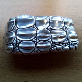 Belt Buckle - SILVER coated Metal Crocodile