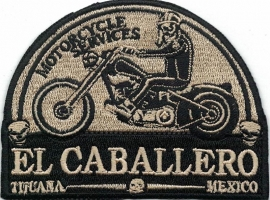 312 - Patch - El Caballero - Motorcycle Service - Tijuana - GOLD