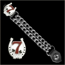 Vest Extender - Double Chain - Red Lucky Seven & Horse Shoe