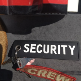 PVC Keychain - Black & White - SECURITY