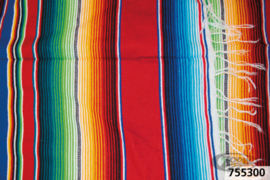 Mexican blanket - Rainbow Colors - with Black leather holder
