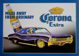 Large Metal Plate - Corona Extra - Miles Away from Ordinary - USA Car V8