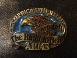 B125 - Belt Buckle - Right to bear Arms - USA