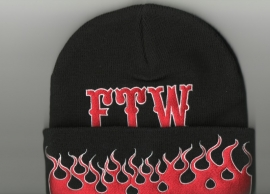 Knit Cap - Fuck The World - Flames - FTW