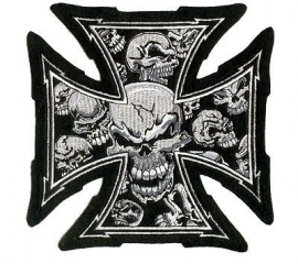 000 - BackPatch - Gray Skull Cross Patch - XXL