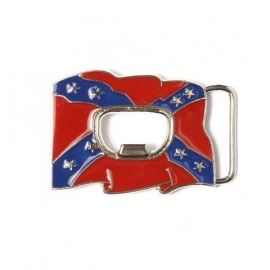 B112 - Belt Buckle Rebel flag with bottle opener