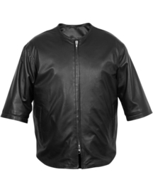 Long Beach MC Vest - (3/4 Sleeve) - Black leather