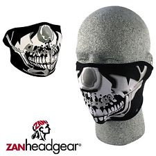 Face Mask - Half - Zan HeadGear USA - Chrome Skull