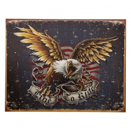 Large Metal Plate - Live to Ride - Eagle