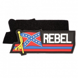 077 - PVC & VELCRO PATCH - Waving Flag - Confederate flag - REBEL