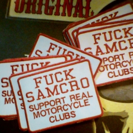 134 - RED and WHITE PATCH- FUCK SAMCRO Support real motorcycle clubs