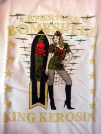 King Kerosin - American Bombshell - Army Pin up - White T-shirt
