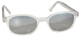 Larger Sunglasses - X-KD's - CHILL X - Clear Frame & Silver Mirror Lens