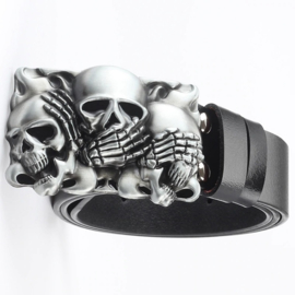 Belt Buckle - No Evil - 3 Skulls