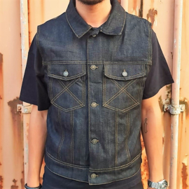 Raw Blue Denim WorkWear Biker Vest  - The Rebel