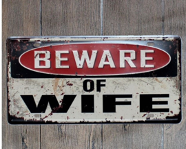 License Funny Plate - BEWARE of WIFE