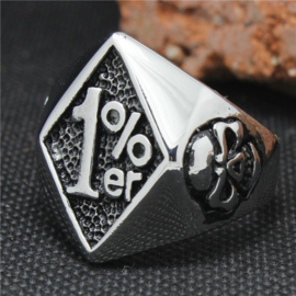 1% - One Percenter Ring - Silver Skull