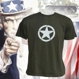 T-shirt Army White Star (Black or Green)