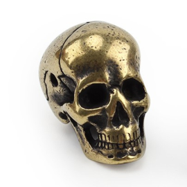 Brass Skull - Heavy - Craneum - approx 30mm - Smooth