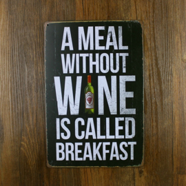 Vintage Metal Plate - A Meal without Wine ...