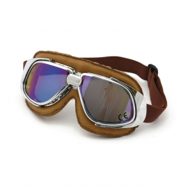 Bandit - Classic Goggles - Silver & brown leather - Iridium Lens