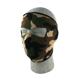 Face Mask - Full - Woodland Camouflage - reversable to black
