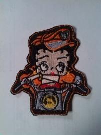 013 - Patch - Betty Boop - Biker - Orange