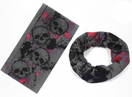 Grey/Red Skulls - Tube / Buff