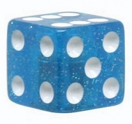 Valve Caps - Blue Dice - Glitter Blue - TrikTopz