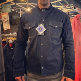 Para-Aramid MOTORSHIRT- Dark Denim - 100% protection - Raw Denim