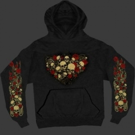 ROSE SKULL BOUQUET BLACK HOODIE - HOODED SWEATER