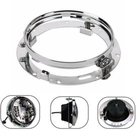 "7"" Round Headlight Ring Mounting Bracket - 7 Inch - Chrome"