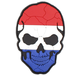 Patch - velcro/pvc - CRACKED SKULL - DUTCH FLAG - Holland - Netherlands - Nederland - (PVC-VELCRO)