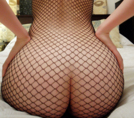 FISHNET BODY - Open Shoulders - O/S BLACK