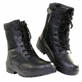Sniper/Combat Boots - Black Leather & 3M breathing  DeLuxe (Zipper)